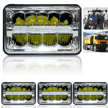Truck led headlight High/Low beam Square LED Headlight 4x6 INCH Chrome Reflector Sealed Beam Replacement Driving lights