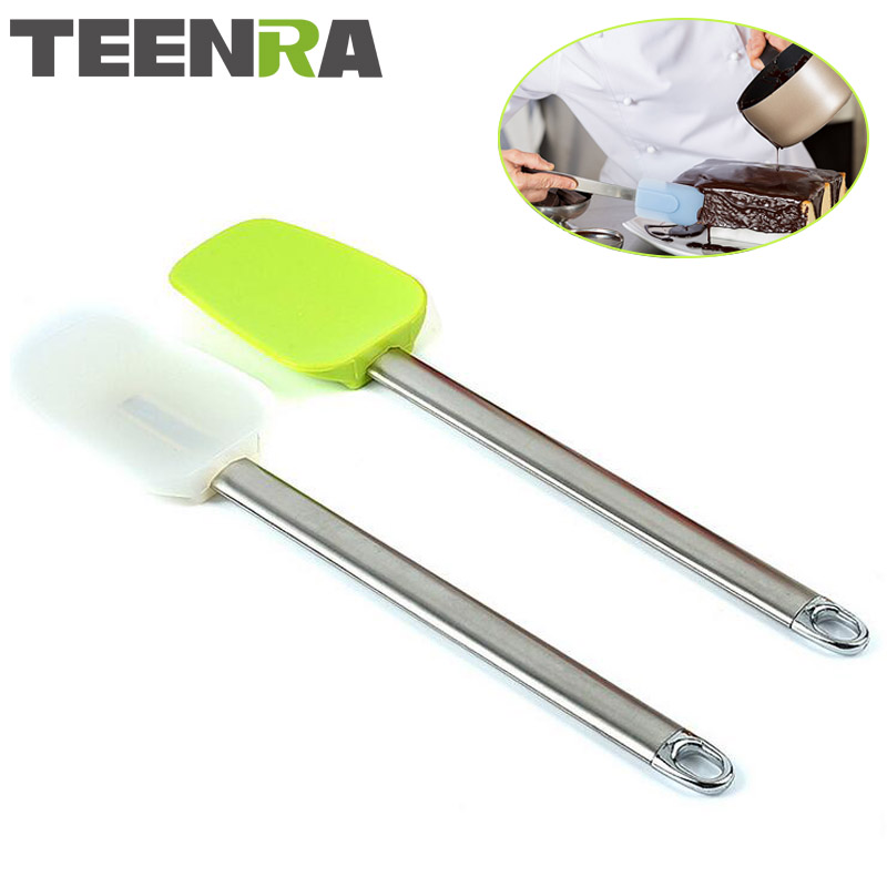 TEENRA 1Pcs Eco-Friendly Stainless Steel Handle Silicone Spatula For <font><b>Cake</b></font> <font><b>Scraper</b></font> <font><b>Pastry</b></font> Accessories <font><b>Cake</b></font> Decorating Tools image