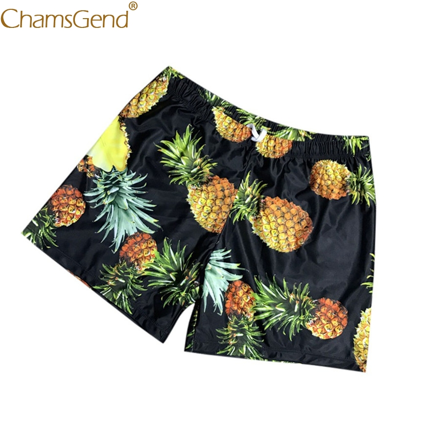 Newly Design 3D Pineapple Fruit Print Men's Hawaii Traveling Board Shorts Summer Beach Swimwear Pants with Pocket 80425