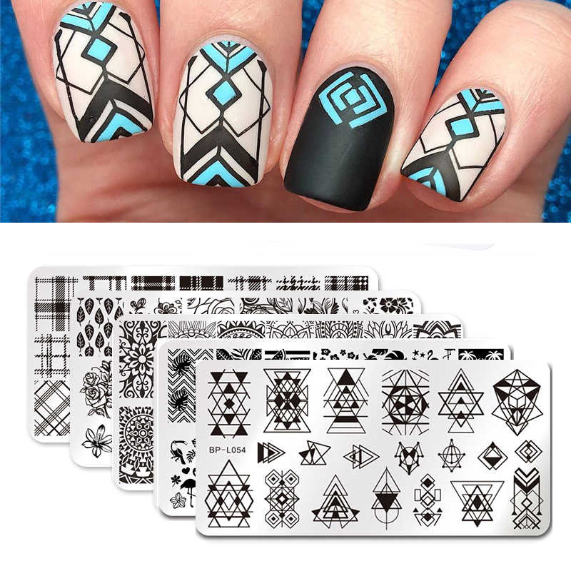 BORN PRETTY Nail Stamping Plates Stamper Scraper Nail Template Flowers Geometric Patterns DIY Nail Designs Manicure Stamp Plate