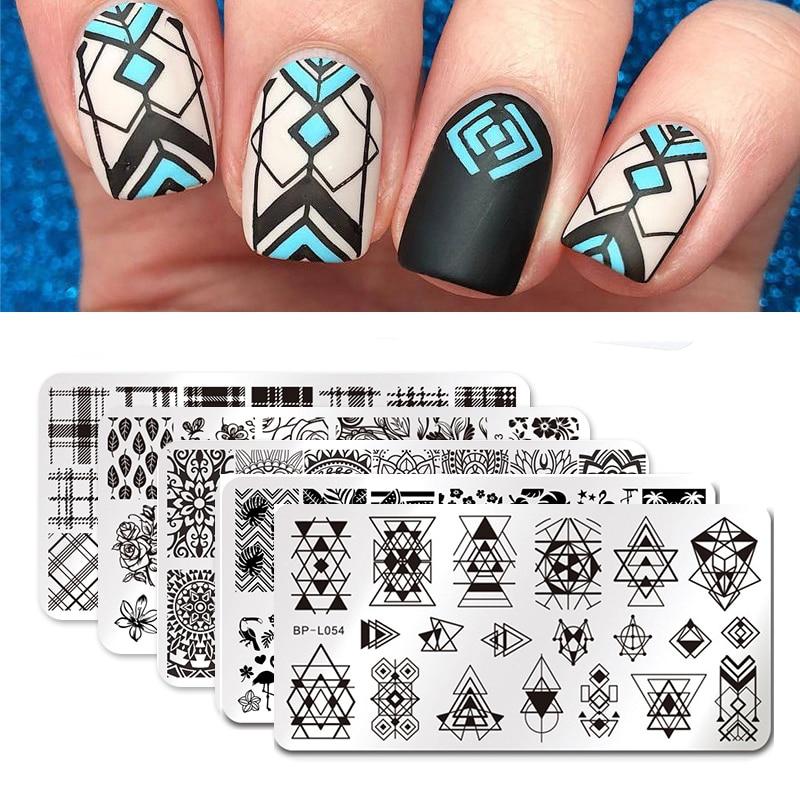 BORN PRETTY пластины для ногтей штамп скребок шаблон для ногтей цветы геометрические узоры DIY Дизайн ногтей маникюр штамп пластины