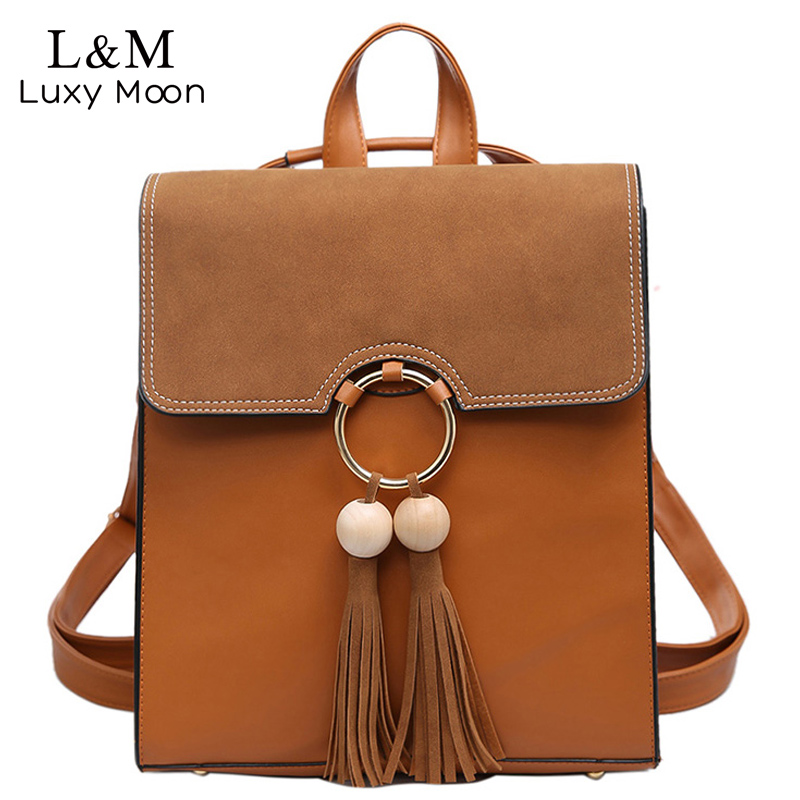 Vintage Tassel Backpack Women Suede Patchwork Backpacks For Teenager Girls Casual Brown Leather Bags Famous Brand