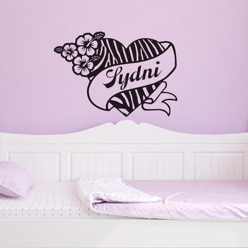 DCTOP Personalized Name Zebra Print Heart Flower Hibis Custom Name Vinyl Wall  Decal Wall Sticker Decal