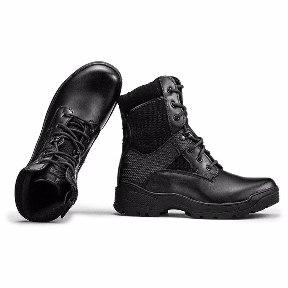 Borracha Ao Ar Exército Qiangren Da Masculino Do Golpe Couro Botas Táticas Marca Preto Dos Segurança De Homens Outono Primavera Vaca Sapatos Livre Militares 116fxEO