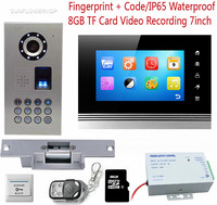 Door Video Call 8GB IF Card Recording Home Intercom Doorbell IP65 Waterproof Fingerprint Keypad With Electronic
