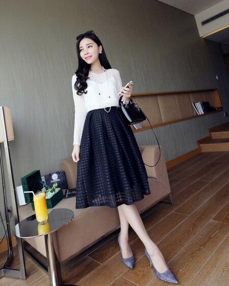 Korean dress fashion black and white female