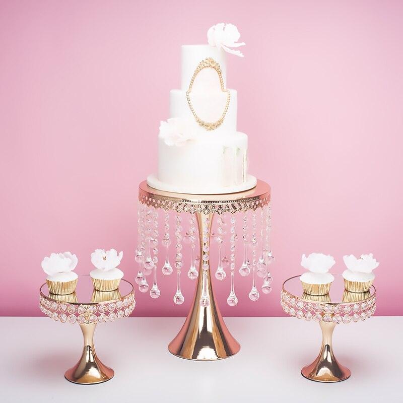 Cristal de luxe mariage grand grand gâteau centres de table support cookie dessert plaque fondant macaron cupcake gâteau décoration outil