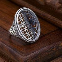 Art Deco Antique 925 Sterling Silver Semi Mount Men Ring for 24x30mm Oval Cabochon Amber Agate Turquoise Gemstone Setting