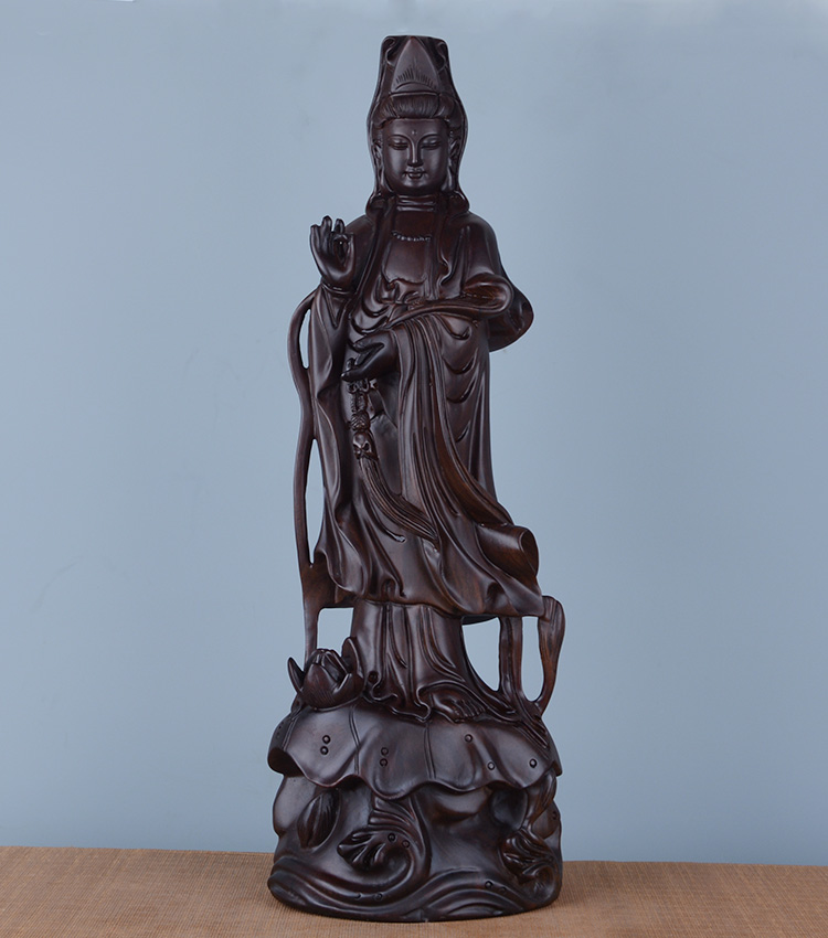 Special Offer 30CM TALL HOME Spiritual protection Bless family Handmade black Ebony Wood carving Lotus Guanyin