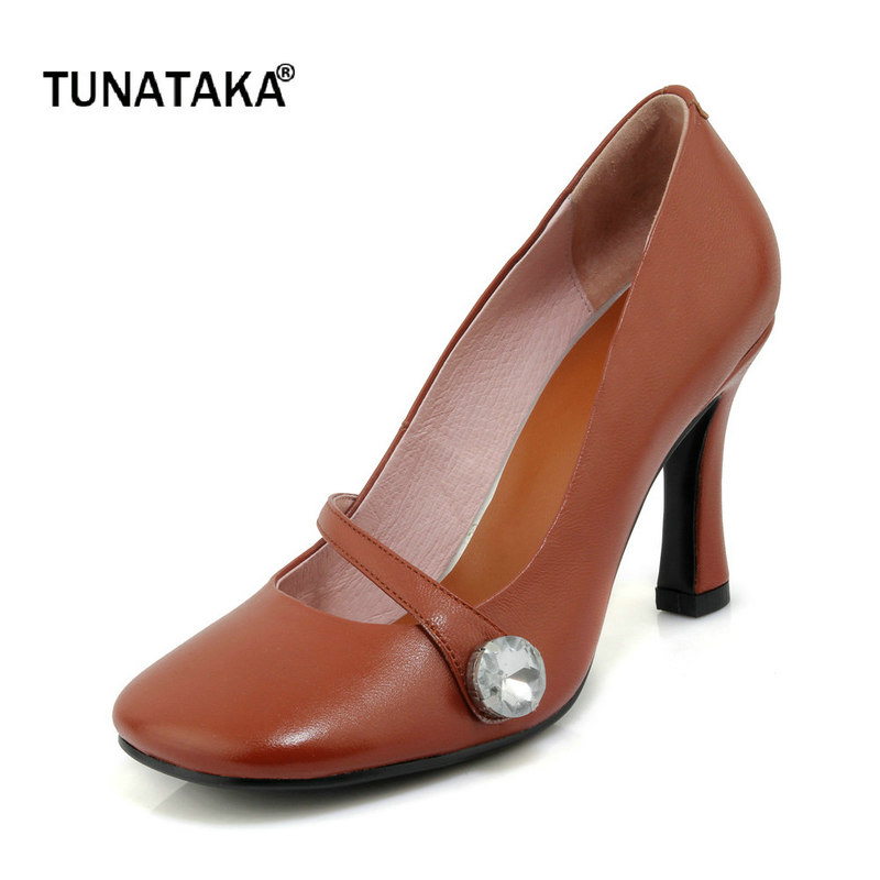 Genuine Leather Thin High Heel Square Toe Woman Lazy Pumps Fashion Shallow Dress High Heel Shoes Woman Black Brown Beige genuine leather thick high heel woman slingbacks pumps fashion square toe dress lazy high heel shoes ladies black white