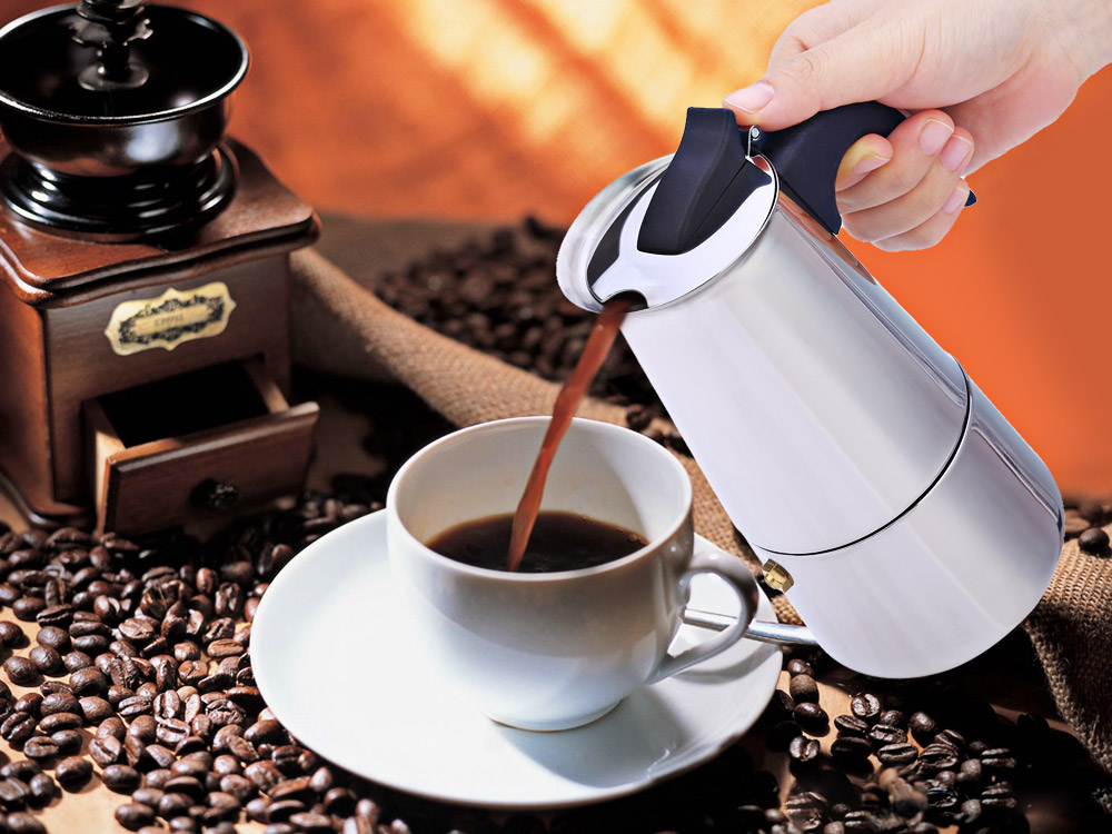 Moka Coffee Maker Stainless Steel Mocha Espresso Latte Stovetop Filter Coffee Pot Percolator Tools Easy Clean for Home Office