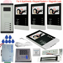 New 4.3inch Color Screen Video Intercom Door Phone System 4 Monitors 1 Doorbell Camera For 4 Family + Electronic Magnetic Lock