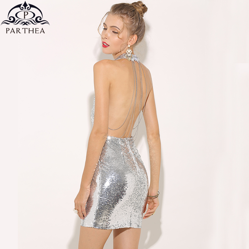 Parthea Elegant Sexy Chain Sequin Dress TY009
