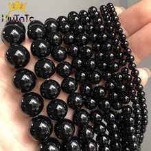 Negro Natural ágatas cuentas de piedra Onix liso redondo cuentas espaciadoras sueltas para fabricación de joyería DIY pulseras 15 ''/4/6/8/10/12/14mm