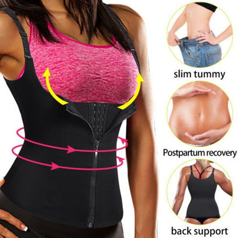 Neoprene Sauna Sweat Vest Shapers Waist Trainer Cincher Women Body Slimming Trimmer Corset Workout Thermo Push Up Yoga Top