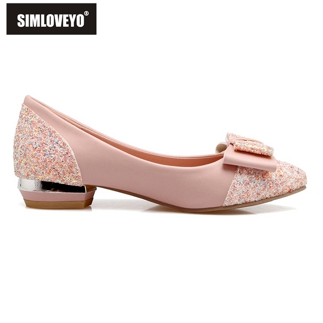 SIMLOVEYO Summer Women Glitter Low Heel Pumps Fashion Pumps for Women Pointed Toe Soft Pumps Heel Shoes B449