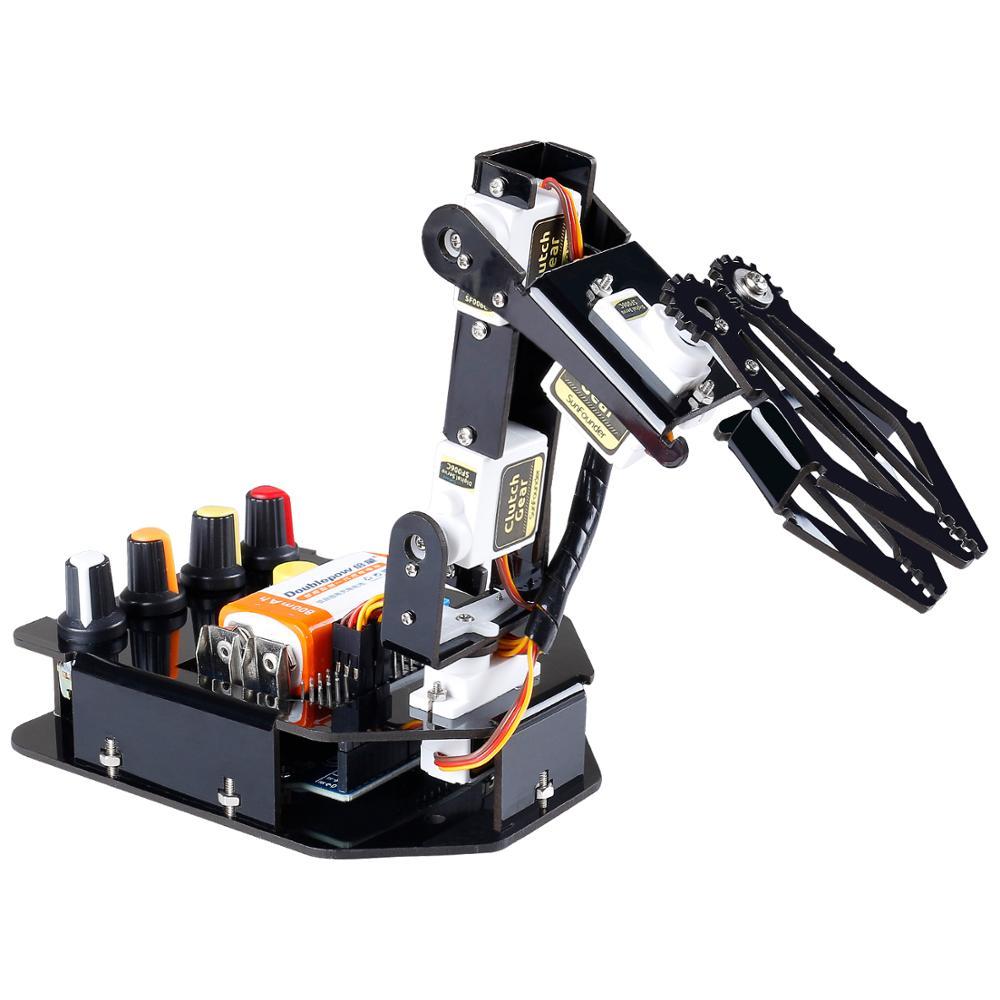 Kit bras robotique bricolage électronique sunfondateur 4 axes servocommande Rollarm avec contrôleur filaire pour Arduino Uno R3
