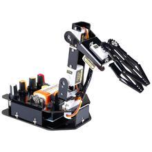Sunfounder 전자 diy 로봇 암 키트 arduino uno r3 용 유선 컨트롤러가있는 4 축 서보 제어 롤 암