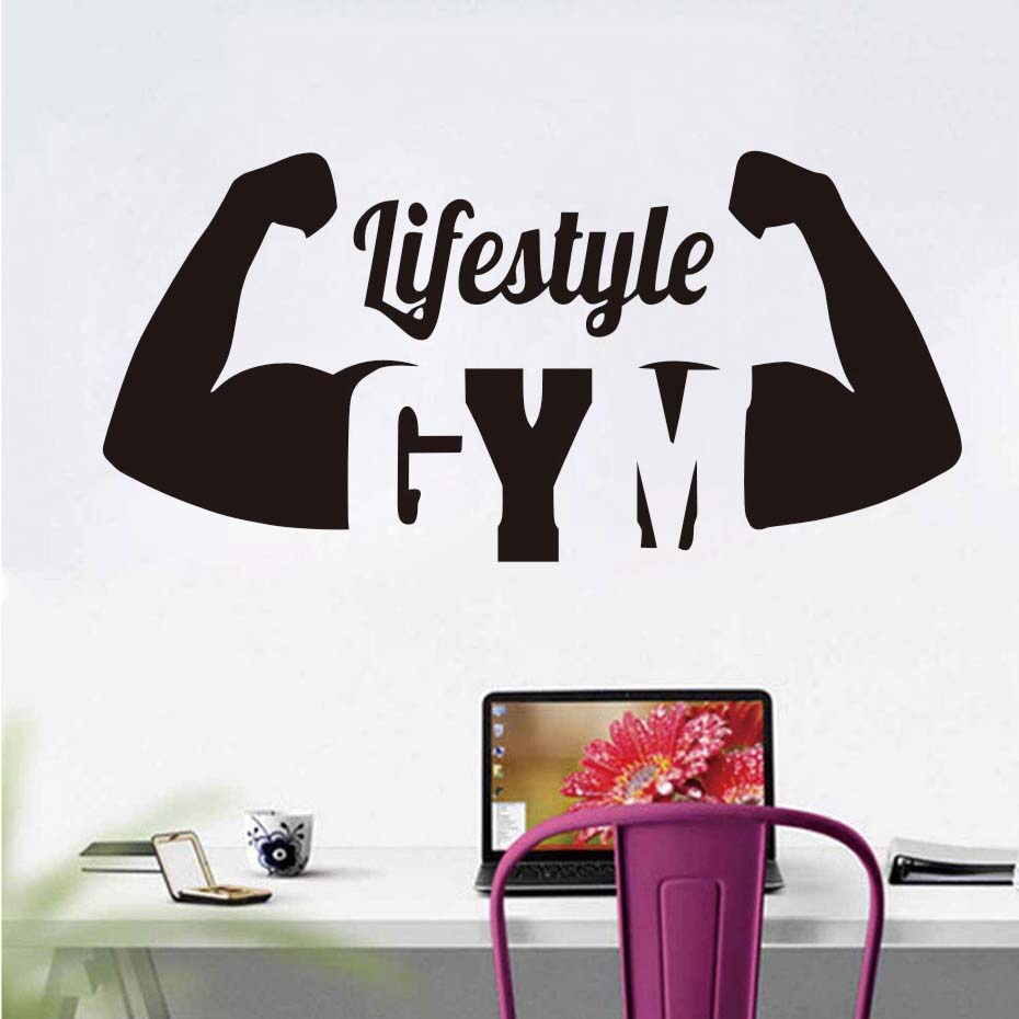 Lifestyle Sport Gym Wall Stickers Quotes Diy Vinyl Removable Fitness Muscles Decor Waterproof Sports Sticker For Bedroom Living
