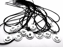 12PCS/Lot- L015 Zodiac Pisces Aries Taurus Capricorn Scorpio Leo Necklace Signs 12 Constellation Letter Rope Leather Necklaces saint seiyas constellation led watch 12 zodiac signs theme waterproof wrist watches virgo taurus leo christmas gift