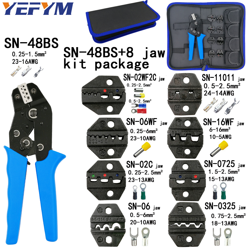 Crimping pliers SN-48BS 8 jaw kit package for 2.8 4.8 6.3 VH2.54 3.96 2510/tube/insulation terminals electrical clamp tools