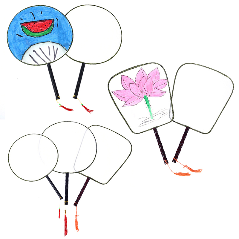 2020 New Children DIY Craft Toys Kids Creative Round Fans Painting Crafts Toys Kids Hand-painted Blank Fan Arts Crafts Toys