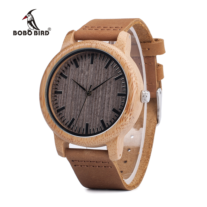 BOBO BIRD V-A18 Top Brand Wood Watches Men Casual Bamboo Quartz Wristwatch Leather Strap Relogio Masculino Hombre