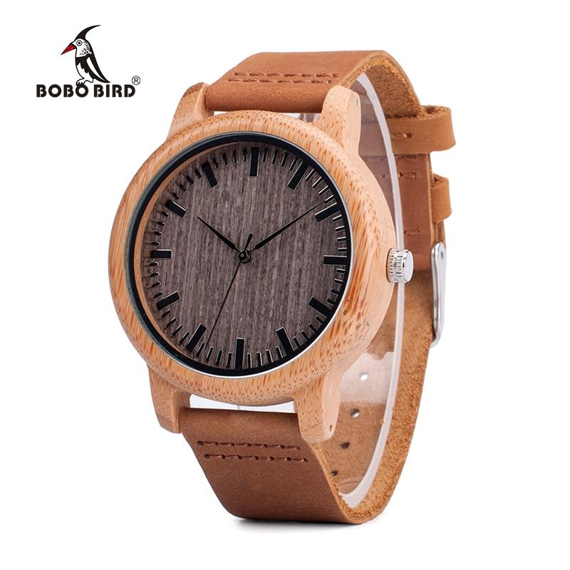 0399ae70ad54 BOBO BIRD V-A18 relojes de madera de marca superior hombres reloj de  pulsera de cuarzo de bambú Casual correa de cuero reloj Masculino Hombre