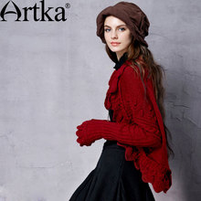 Artka Women's Autumn New 3 Colors All-match Cardiagn Vintage Batwing Sleeve Comfy Warm Knitwear With Ruffles WB18155Q