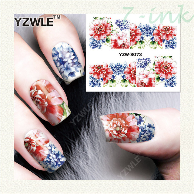 Water Transfer stickers for nail art blue and red flower Design stickers  adhesive nail design all - Water Transfer Stickers For Nail Art Blue And Red Flower Design