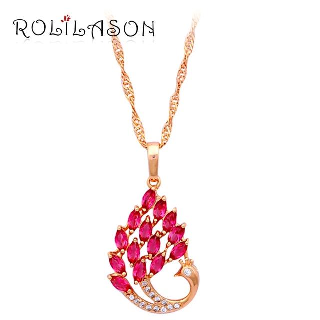 Peacock design 2015 new women accessories Rose Zirconia yellow gold