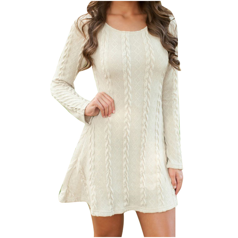 2017 Fashion Women s Round Neck Pullover Knitted Long Slim Dresses Camel White S M L