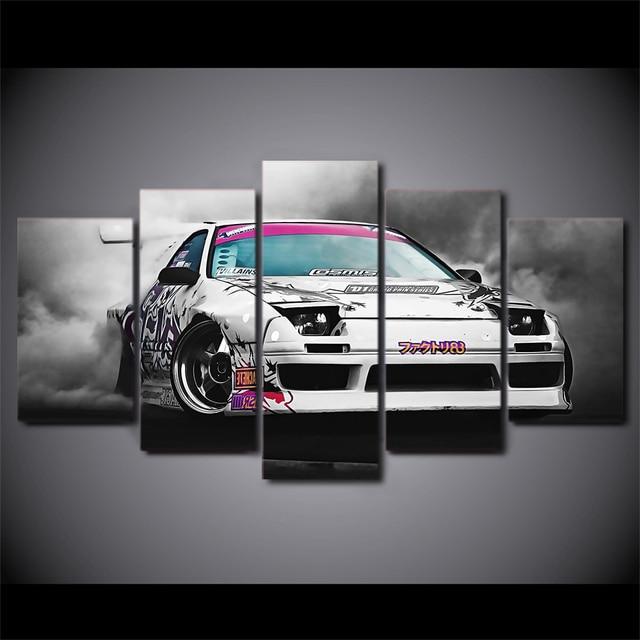 5 Pcs/Set Framed HD Printed Japanese Car Smoke Canvas Art Painting ...