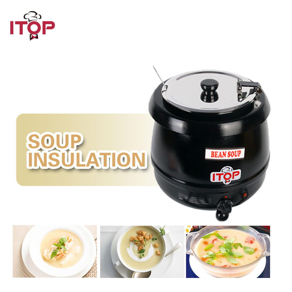 ITOP 10L Soup Pots Kettle Commercial Wet Heat Food Warmer Stainless Steel Soup Pot Removeable Cover 110V 220V