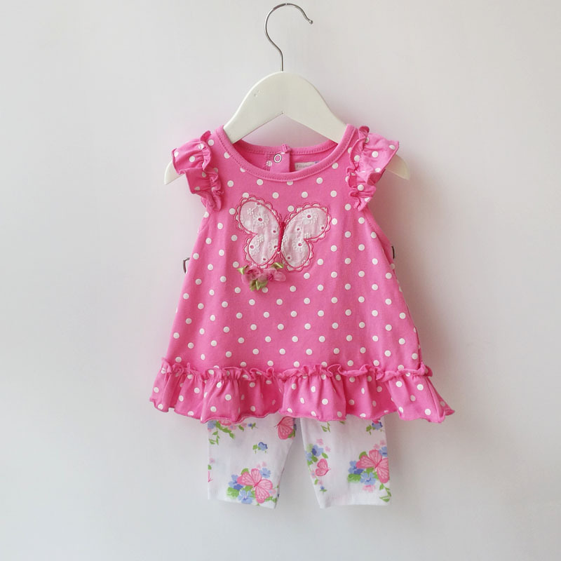 Baby Girl Summer Clothing Sets Kids Girls  2-Piece Polka Dot T-shirt & Butterfly Capri Pant Suit Infantil Baby Outfit Clothing