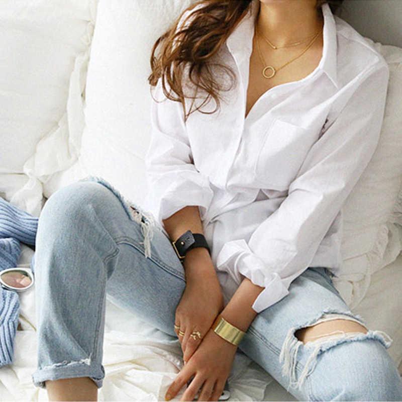 2019 الربيع واحد جيب المرأة قميص أبيض الإناث بلوزة بلايز كم طويل عادية بدوره إلى أسفل طوق OL نمط المرأة البلوزات فضفاضة