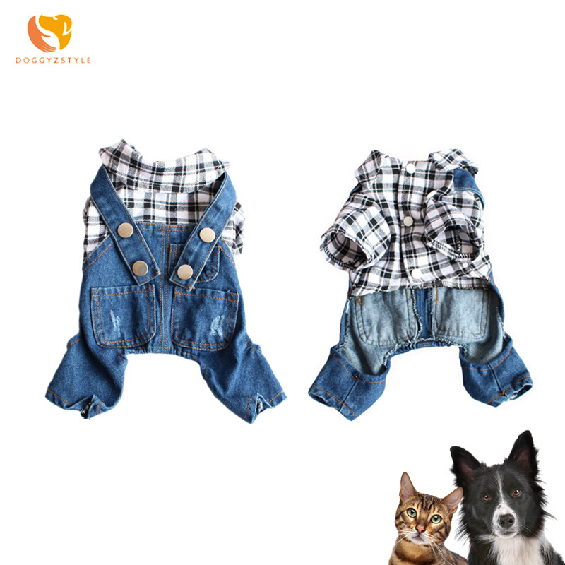 DOGGYZSTYLE New Denim Jumpsuit Pets Dog Clothes For Large Dogs Pajamas Jean Jacket Coat Puppy Clothing Supplier(China)