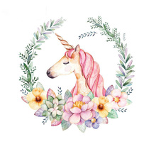Unicorn Patch Flower Patches For Clothes T-shirt Dresses Sweater Transfer Applique DIY Accessory Decoration For Girls