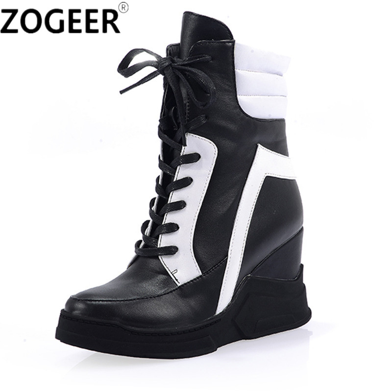 New Winter Autumn Fashion Women Ankle Boots PU Leather Shoes Black White Patchwork Wedge Heels Height