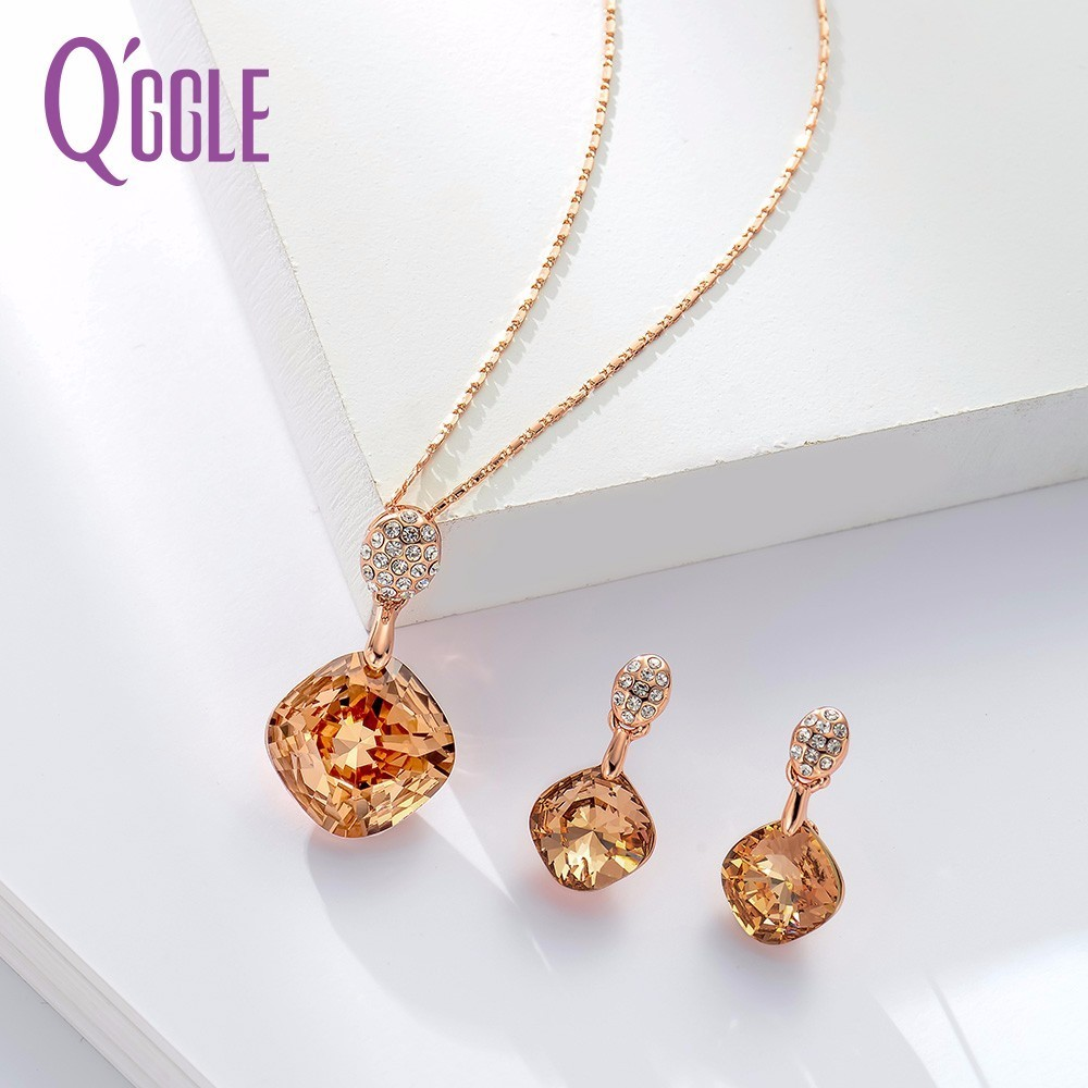 Qggle Fashion Jewelry Square Crystal Women Jewelry Sets Trendy Dangle Earrings & Pendant Chain Necklace SetsQggle Fashion Jewelry Square Crystal Women Jewelry Sets Trendy Dangle Earrings & Pendant Chain Necklace Sets