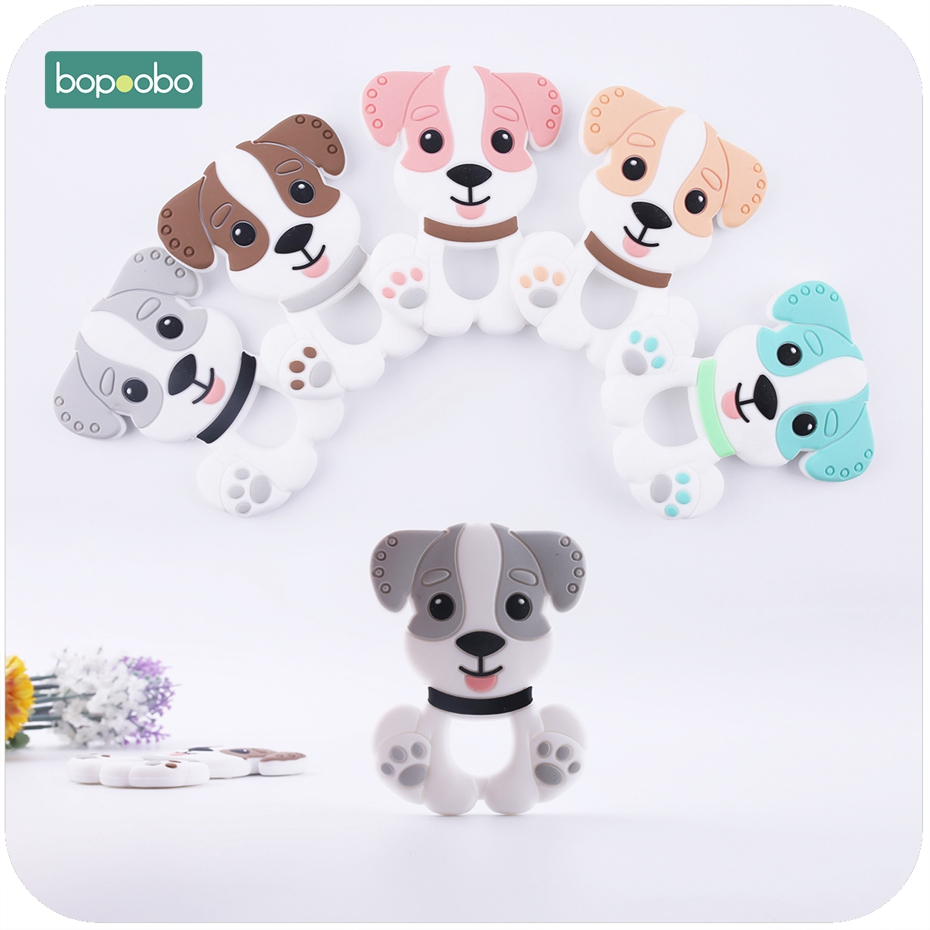 Bopoobo 1pc  Baby Accessories Silicone Teething Husky Dog Pendant Food Grade Materials Charms Nursing Necklace Pendant
