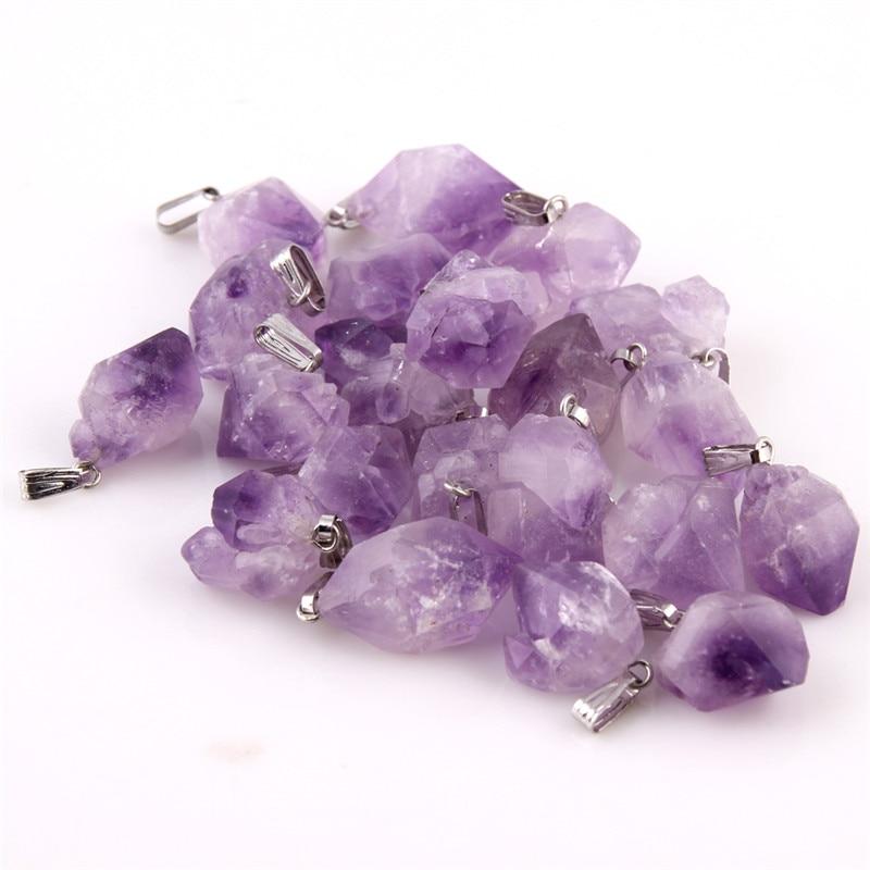 Looduslik punkt kivi Ripatsid Pendel lilla Healing Crystal Chakra - Mood ehteid - Foto 3
