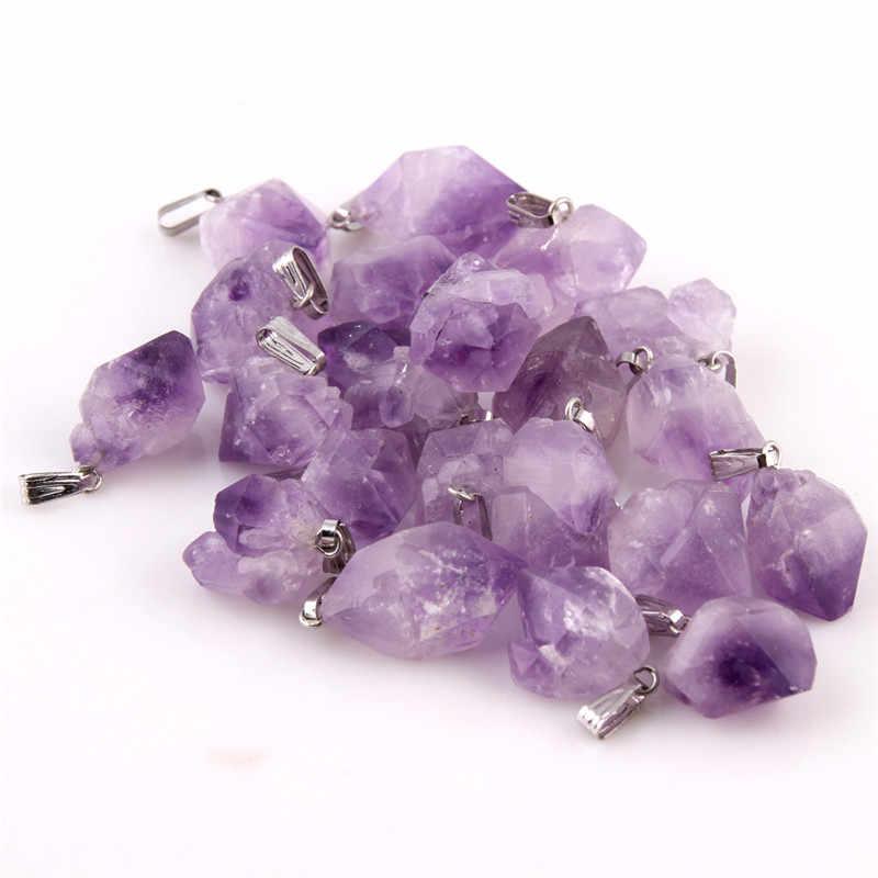 Natural point stone Pendants Pendulum purple Healing Crystal Chakra Reiki Beads random size Free shipping