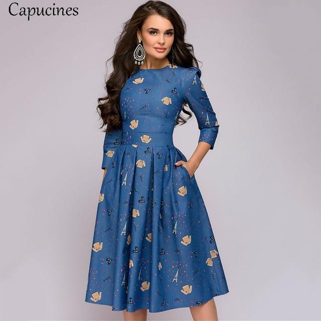 Capucines Tower t-shirt женское винтажное платье с принтом, 3/4 рукав, весенне-летнее платье, повседневные Карманы, а-силуэт, элегантные вечерние
