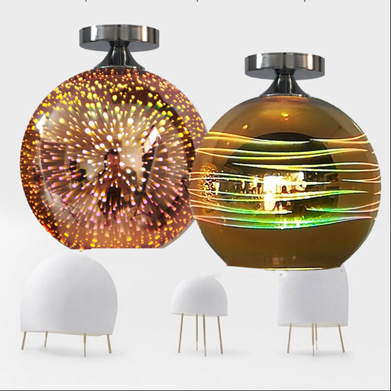 Modern Ceiling light LED lamp 3D colorful glass lamp shade simple ceiling lighting for living Bedroom bar shop light fixture white glass ceiling lamp modern design frosted glass shade light home collection lighting bedroom foyer doorway cloud lights