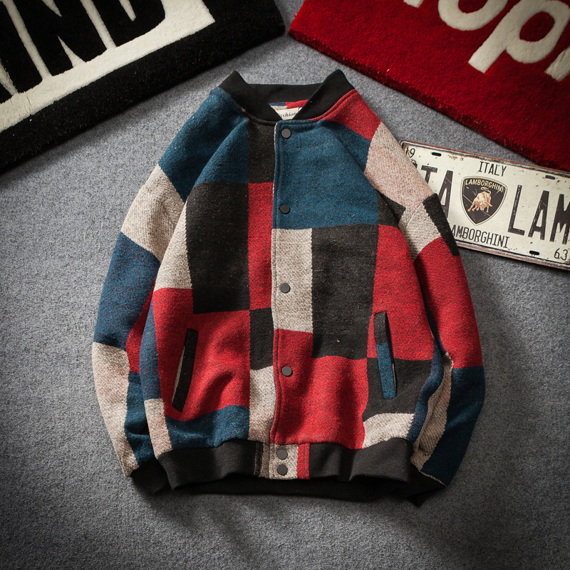 2019 Autumn And Winter New Color Block Wool Jacket Men Add Fat To The Day Tie Man Young Students Material Coat Male