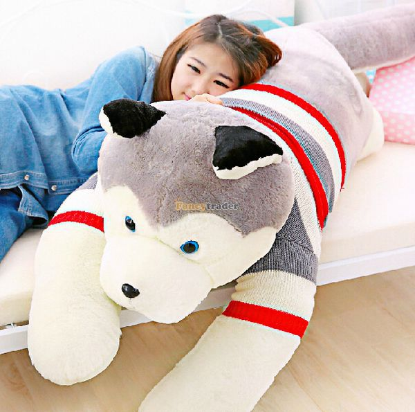 Fancytrader Real Pictures! 71'' / 180 Giant JUMBO Plush Stuffed Emulational Husky Dog Toy, Great Gift, Free Shipping FT50192 fancytrader 2015 new 31 80cm giant stuffed plush lavender purple hippo toy nice gift for kids free shipping ft50367