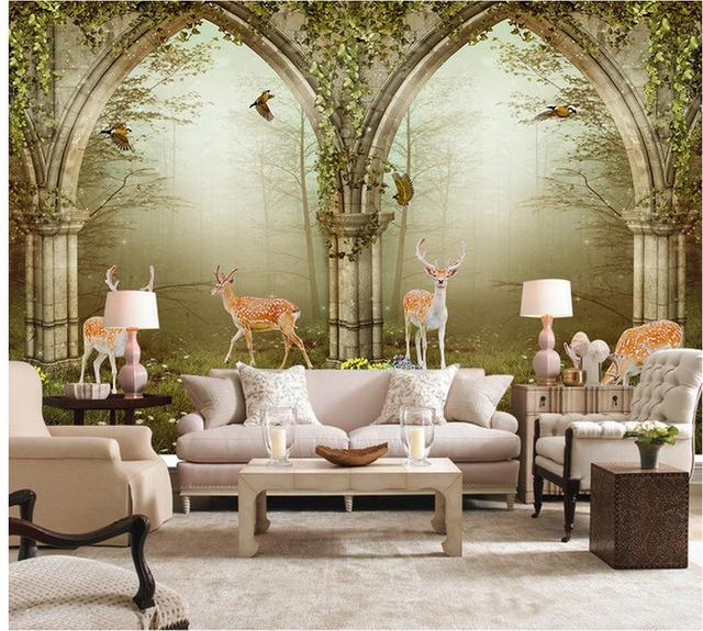 3d Wall Murals Wallpaper Forest Roman Column Arches Elk 3D Backdrop White Home Decoration