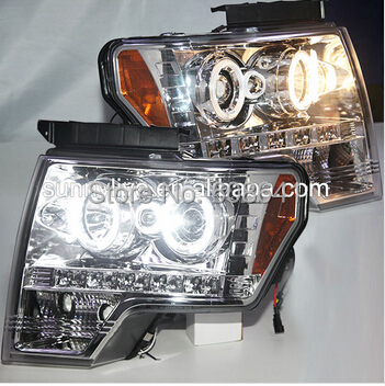 F150 Raptor CCFL Angel Eyes Head Light Chrome Housing