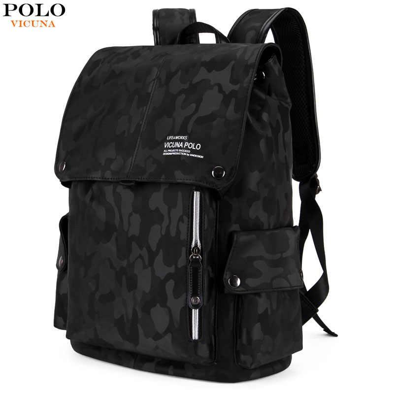 Викуньи поло Модные Стиль камуфляжный рюкзак для ноутбука для подростков  обувь мальчиков кожаные мужские Путешествия Рюкзаки 0be7bd76b58